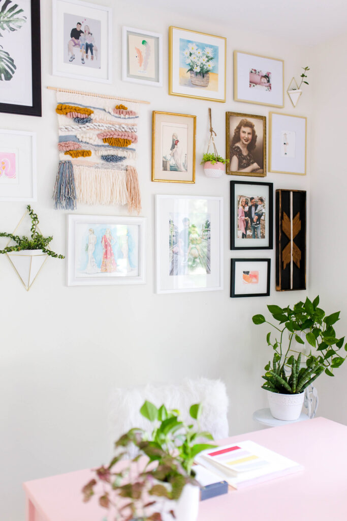 The best gallery wall for a girly home office