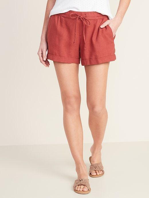 Mid-Rise Linen-Blend Shorts