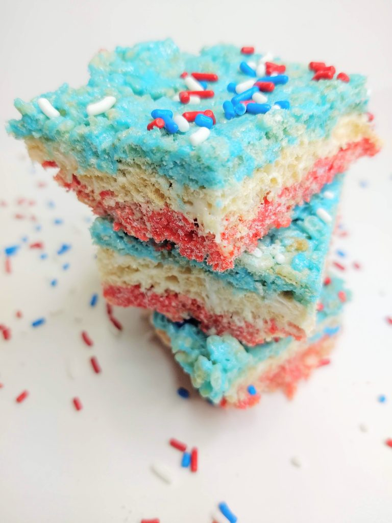 Red, White and Blue Rice Krispie Treats