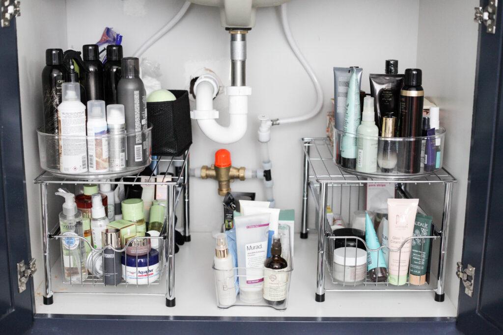 under the sink sliding basket organizer
