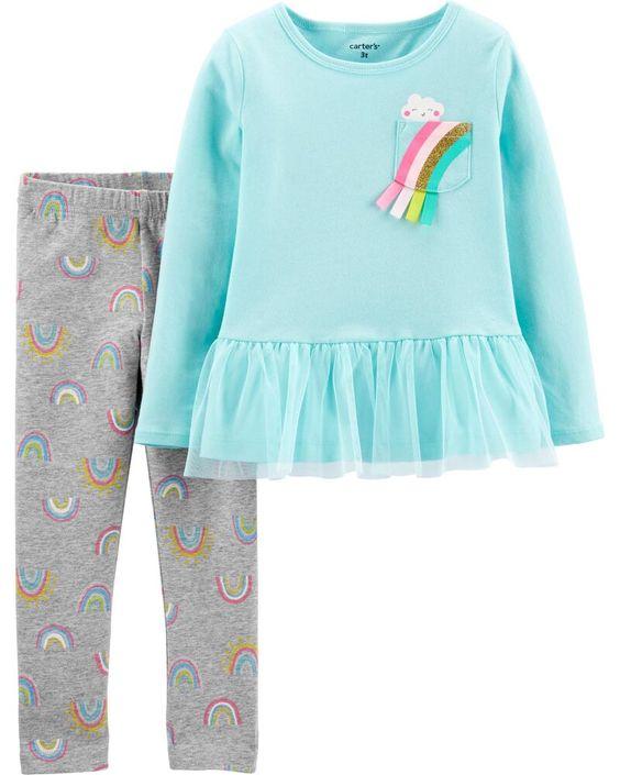 Rainbow peplum top and matching leggings