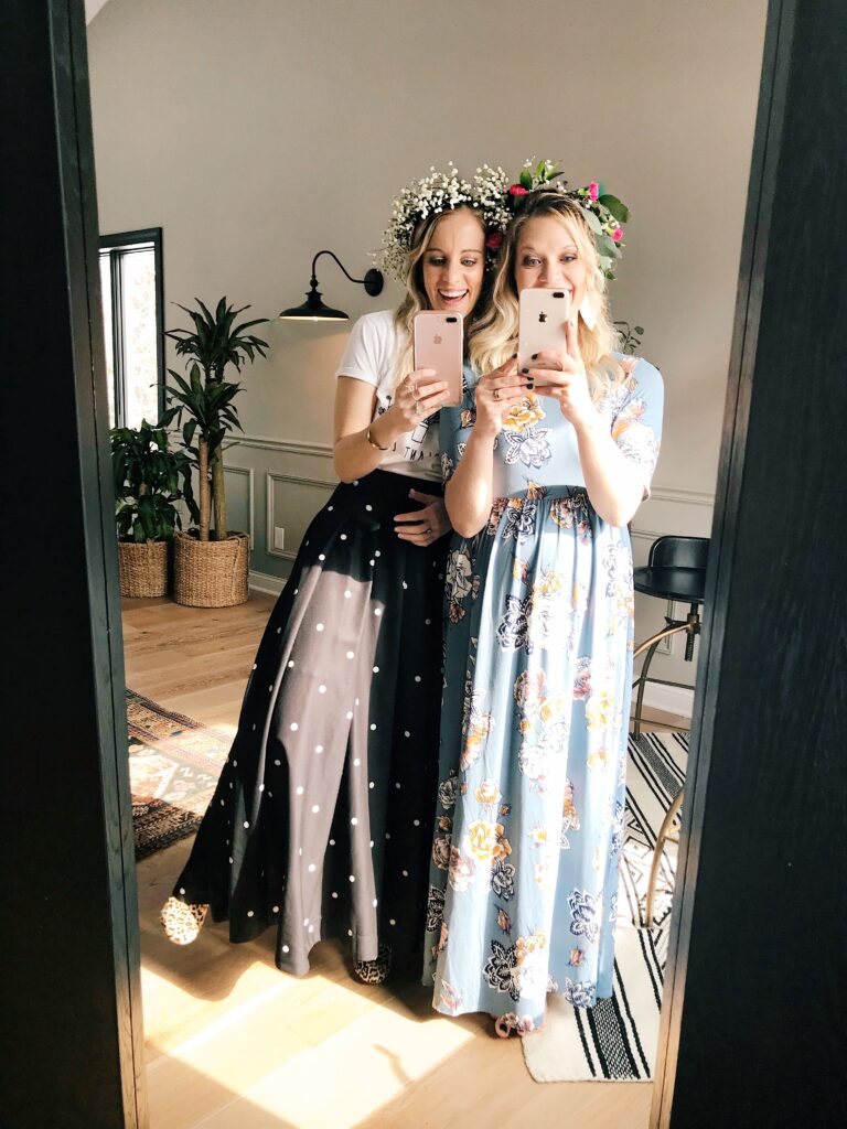 wearing our DIY baby's breath flower crowns