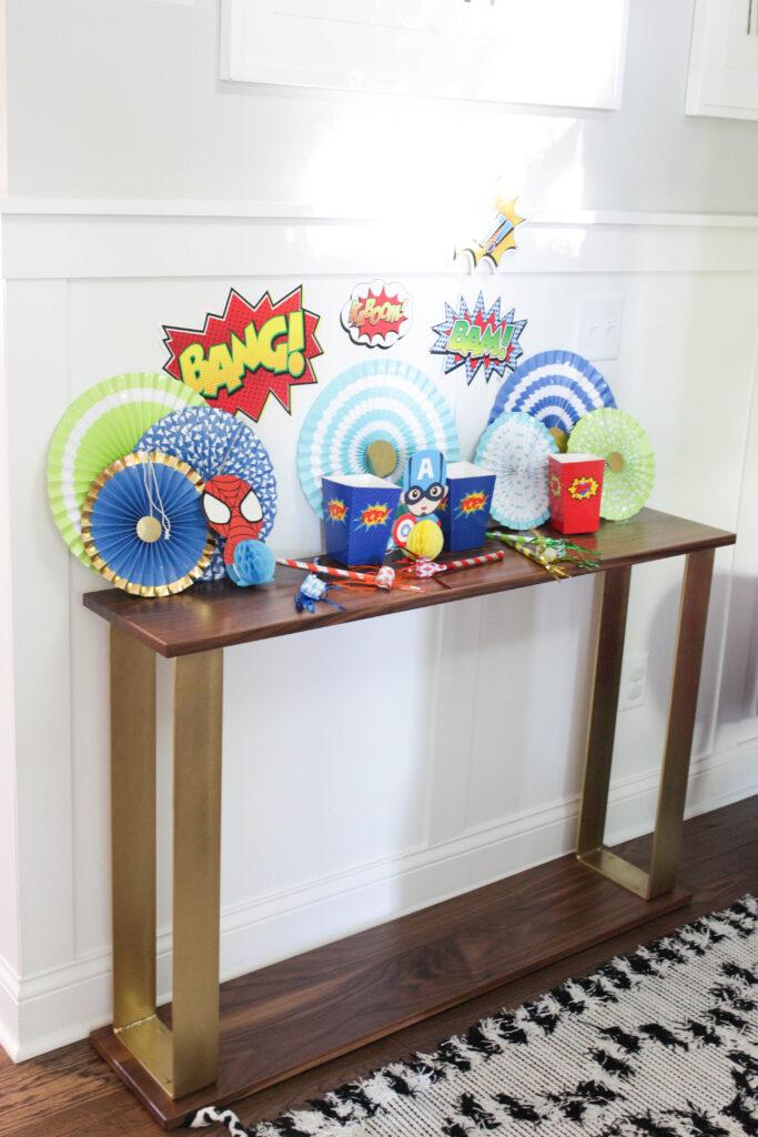 A superhero decor setup