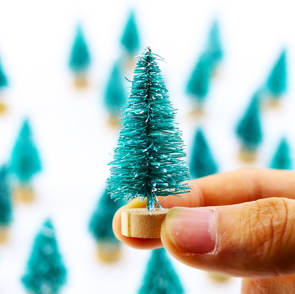 24 Piece Frosted Mini Trees