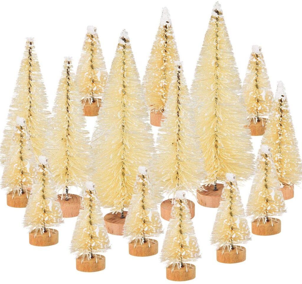 46 Piece White Bottle Brush Christmas Trees
