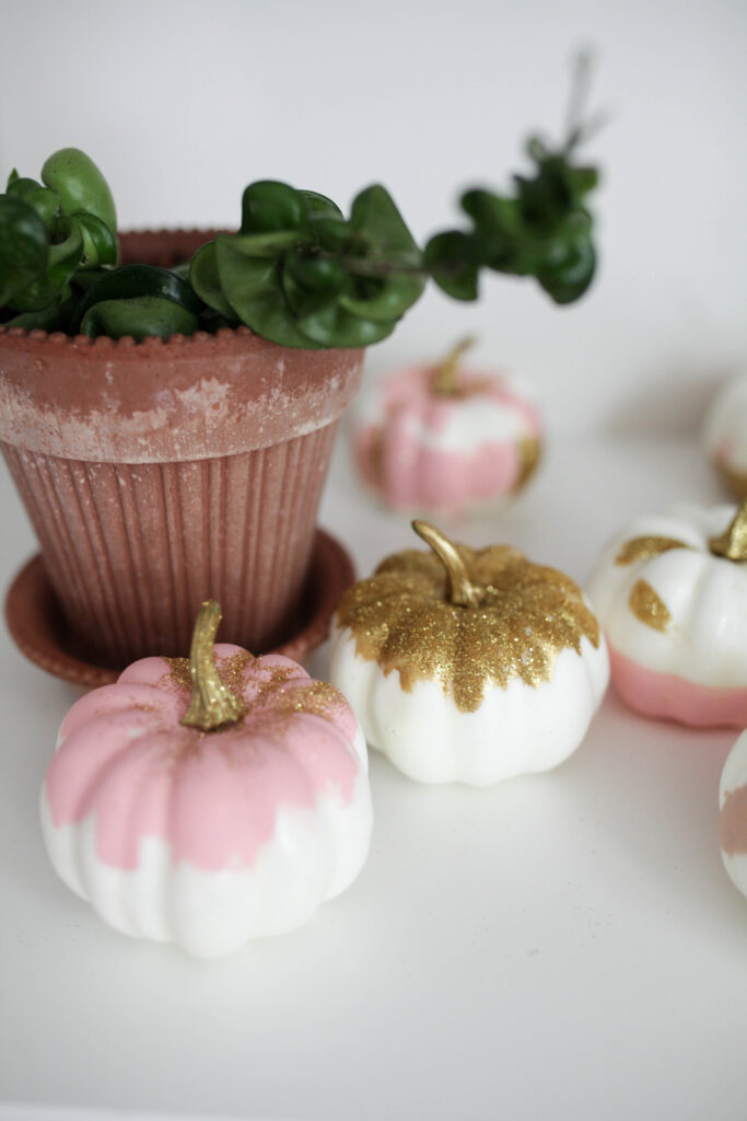 Easy + Inexpensive DIY Painted Glitter Pumpkins