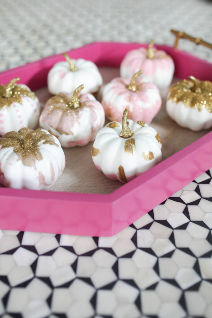 Pink white and gold glitter pumpkins