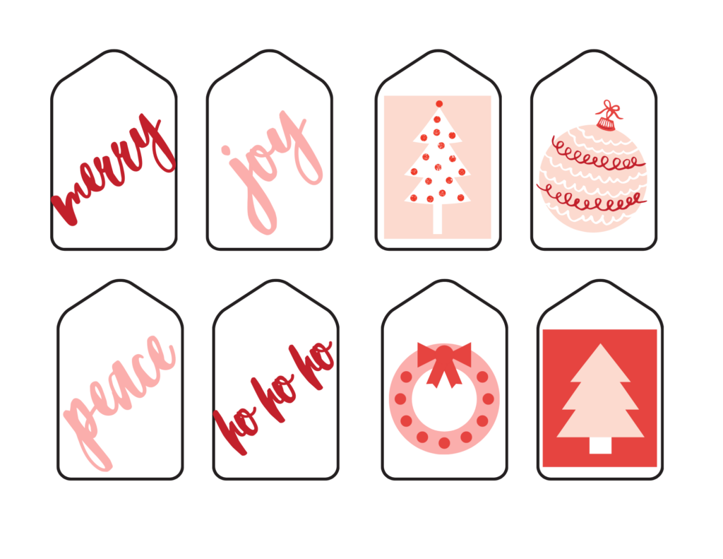 pink and red Christmas gift tags