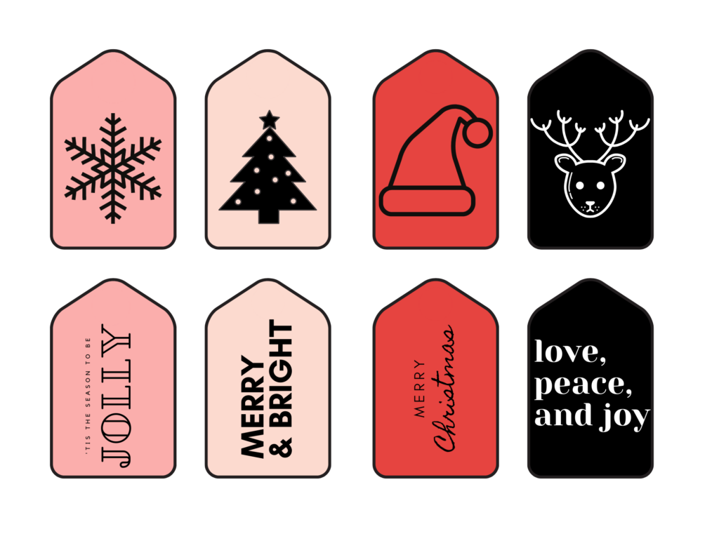 red, pink and black christmas gift tags