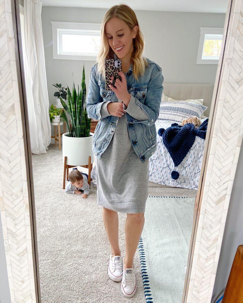 white converse sneakers and dress