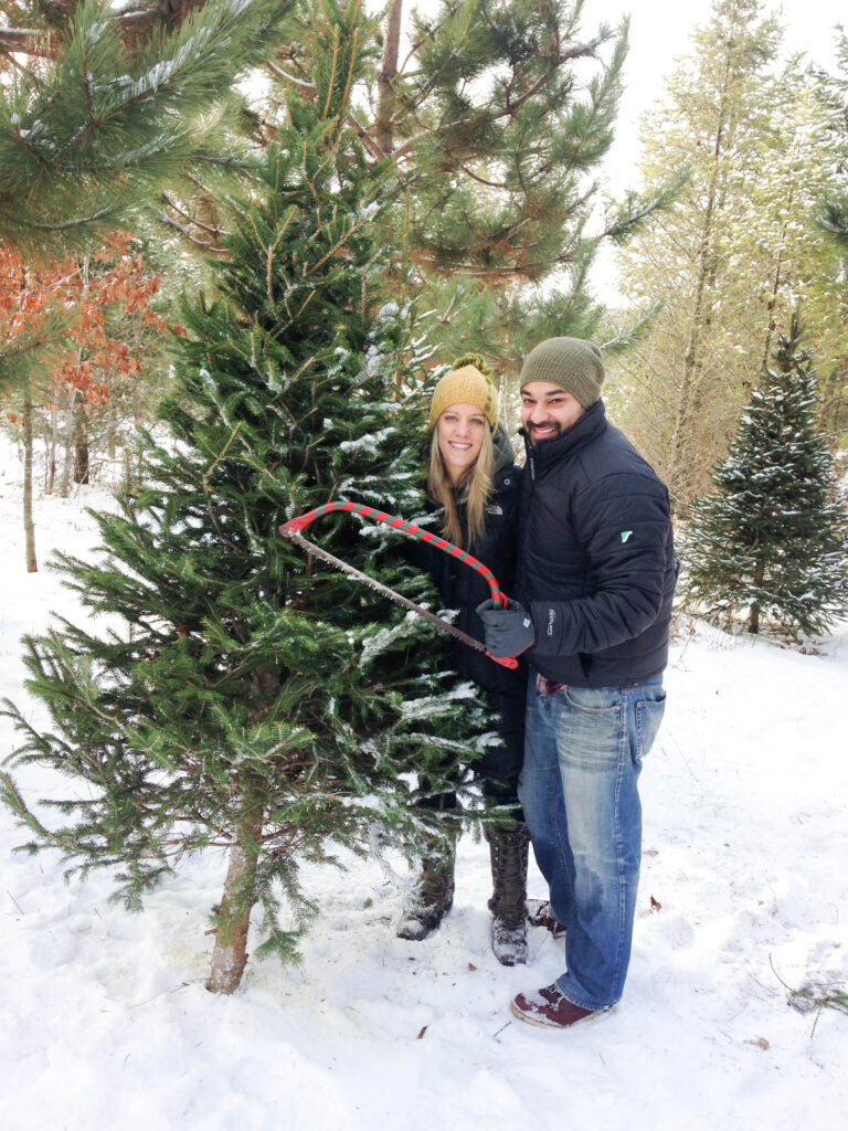 Cutting down a real Christmas tree