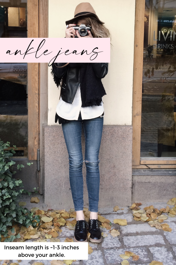 ankle jeans inseam length