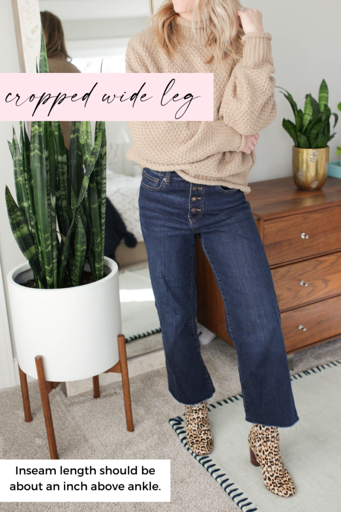cropped wide leg inseam length