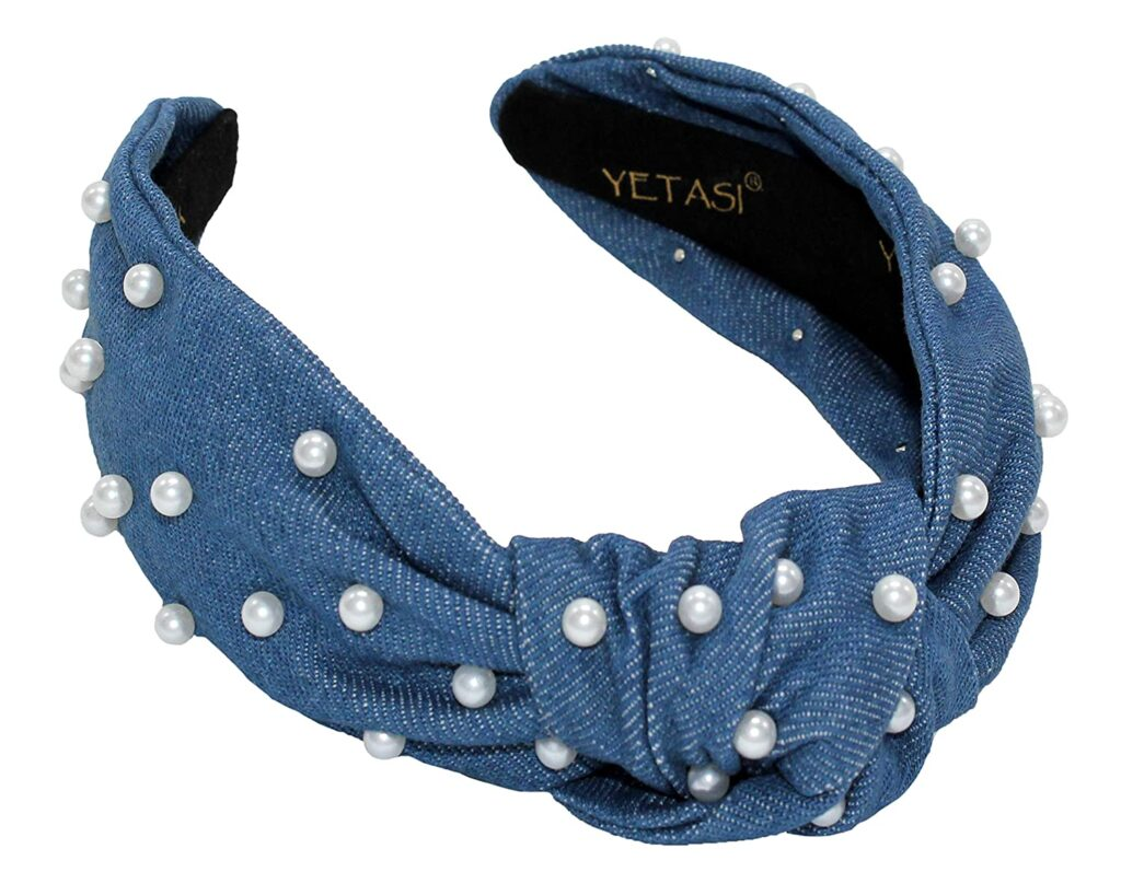 Denim Blue Pearl Headband