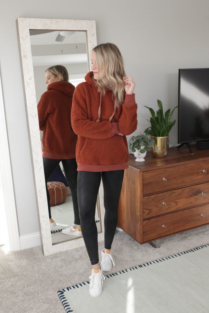 Pair Your Leather Leggings with a Fleece Sweatshirt
