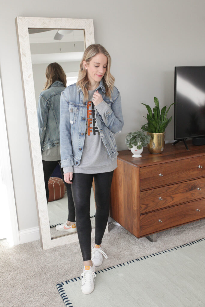 Style Your Leather Leggings with a Denim Jacket