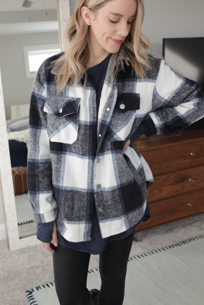 a plaid shacket outfit