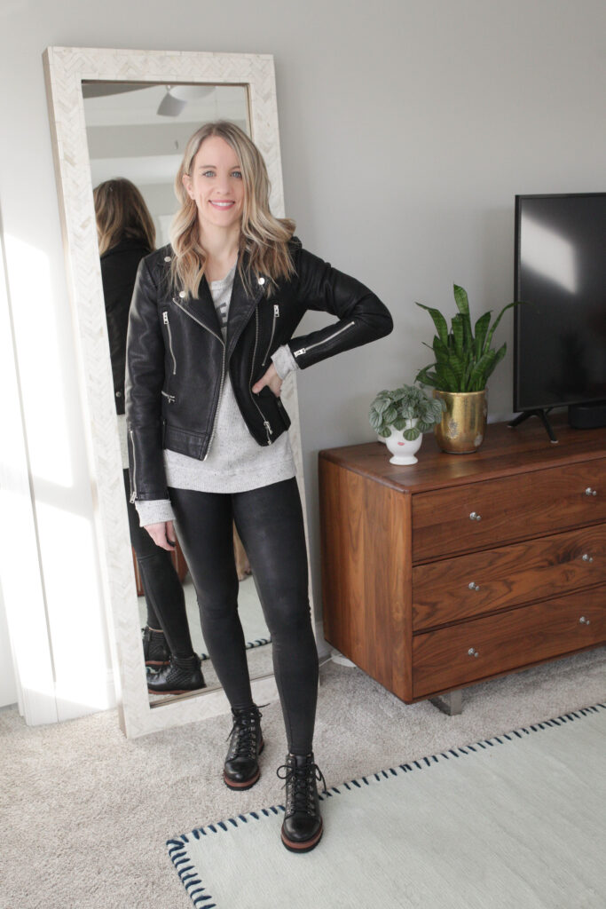 Keep Your Leather Legging Outfit Edgy with a Leather Jacket