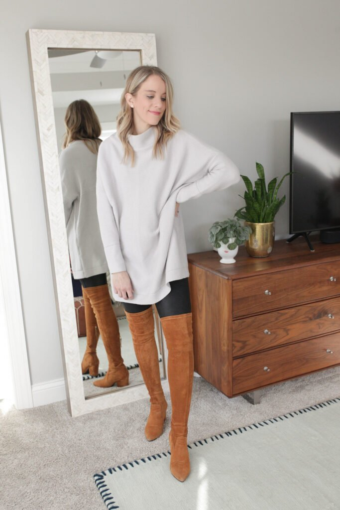 Look Chic in Your Leather Leggings Outfit with an Oversized Sweater and Over the Knee Boots
