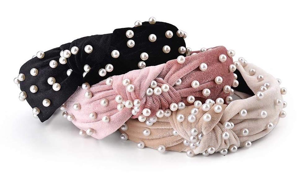 3 Pack Velvet Pearl Headbands