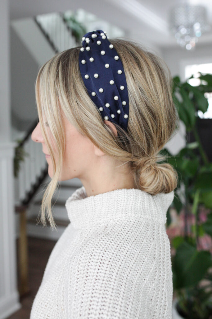 pearl headband with low ponytail