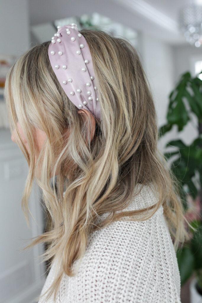 Satin pearl headband