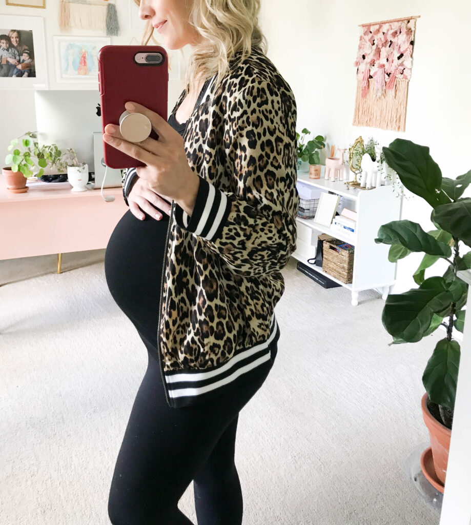 Maternity leggings outfit with leopard jacket