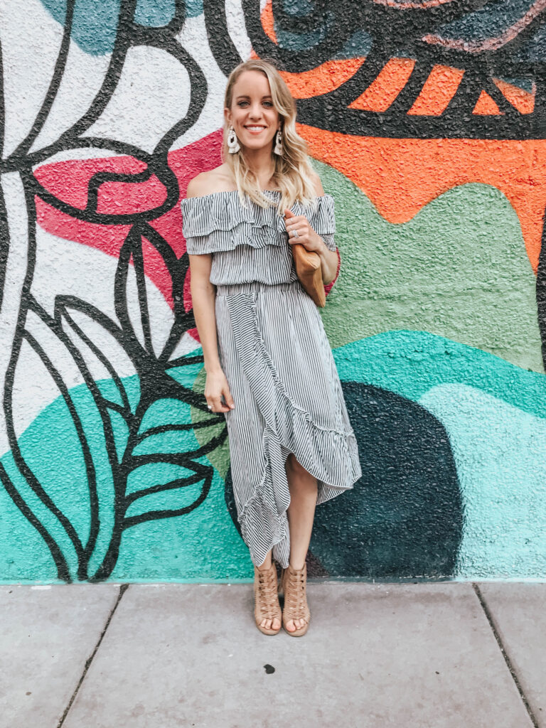 Midid dress off the shoulder with gladiator sandals