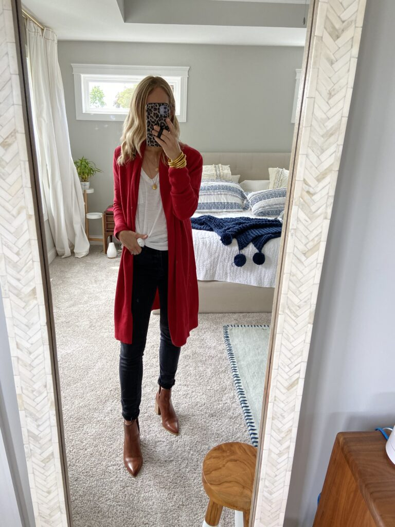 Red Cardigan and Gold Accents