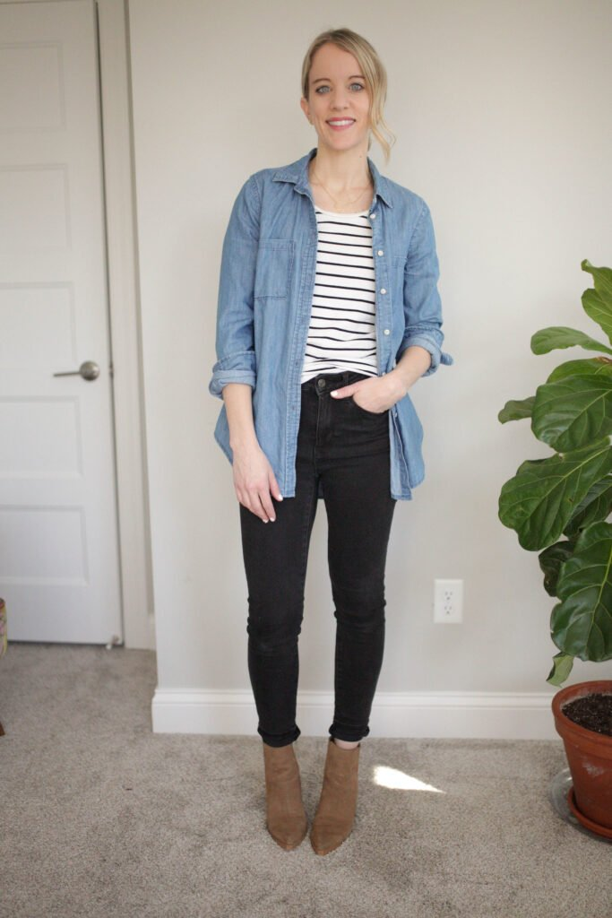 Stripe Top with Chambray