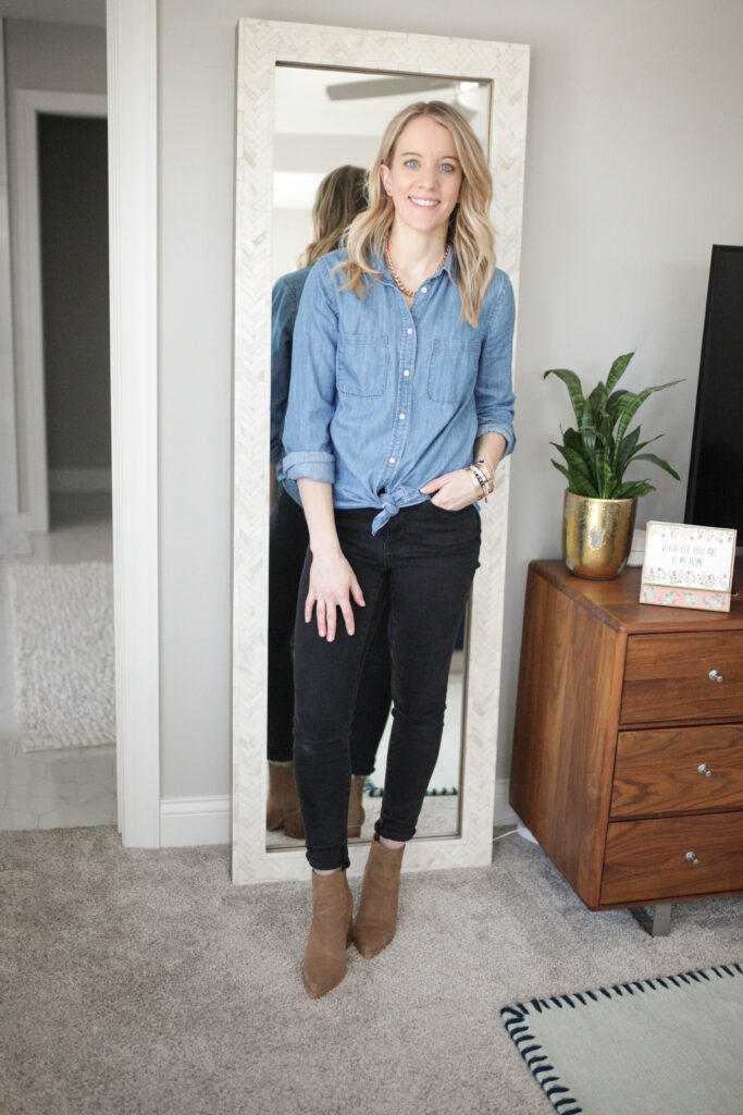 Black Jeans and Chambray Top