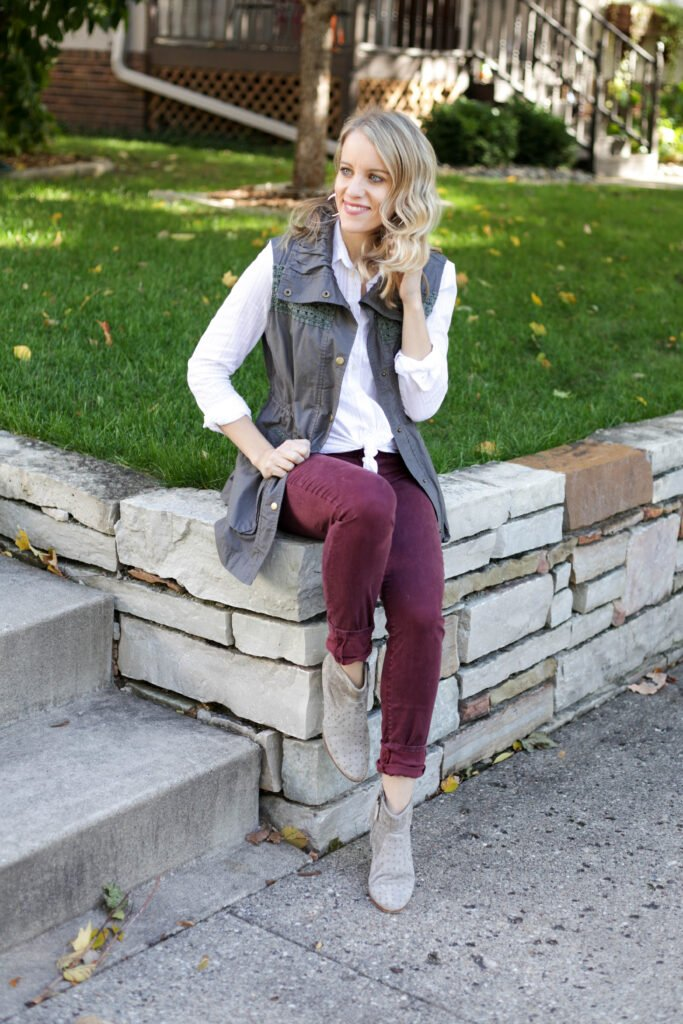 Maroon jeans and vest