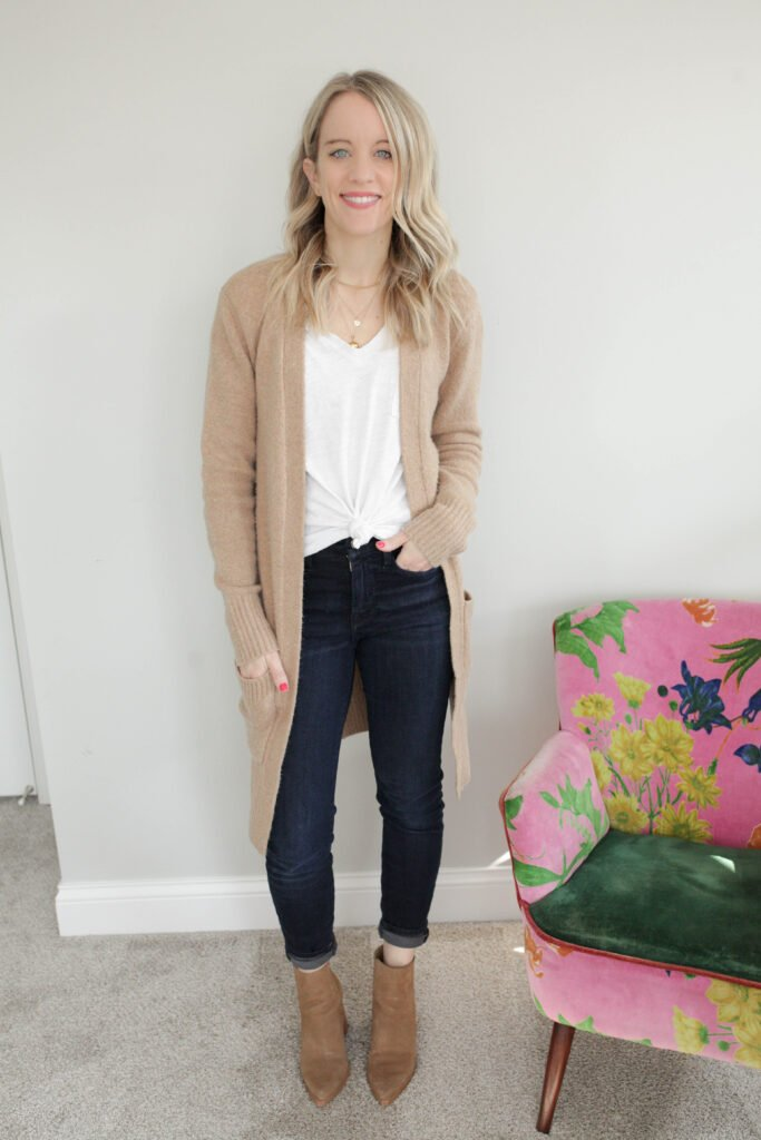 Cardigan and White Tee