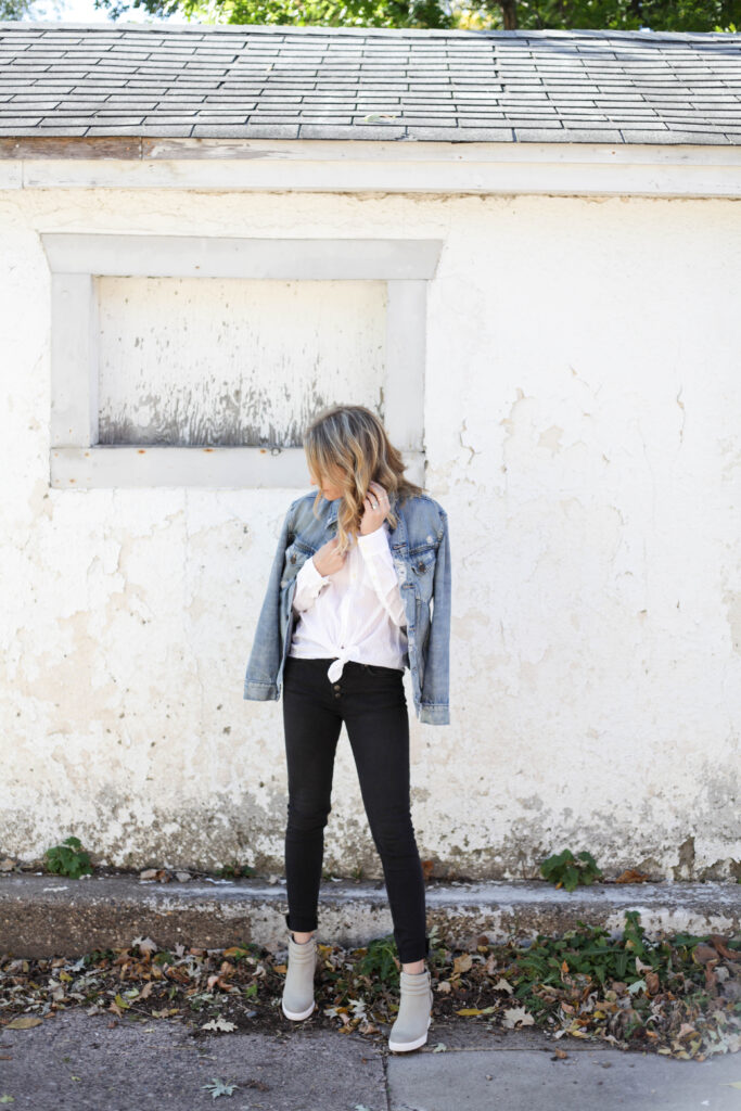 Black Skinny Jeans and Denim Jacket