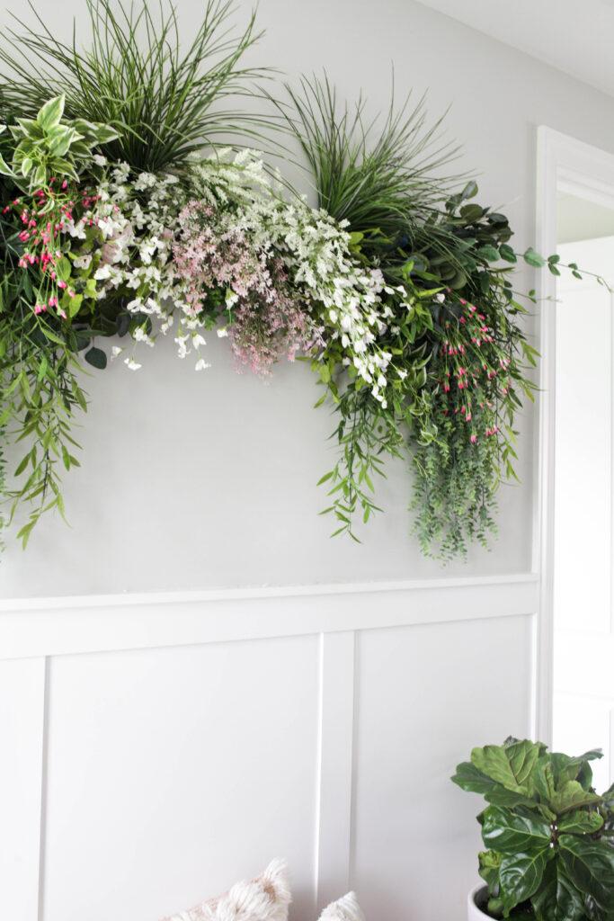faux greenery wall