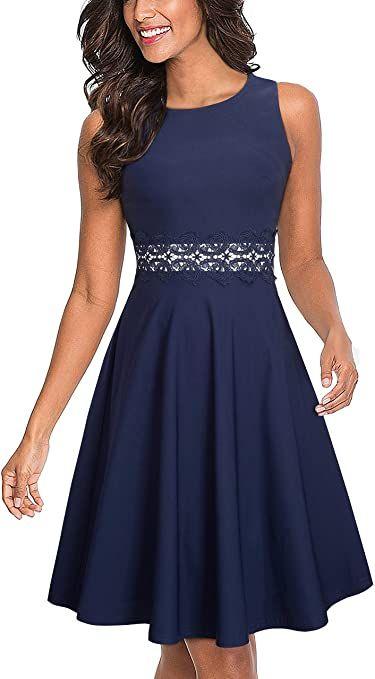 Sleeveless A-Line Embroidery Dress