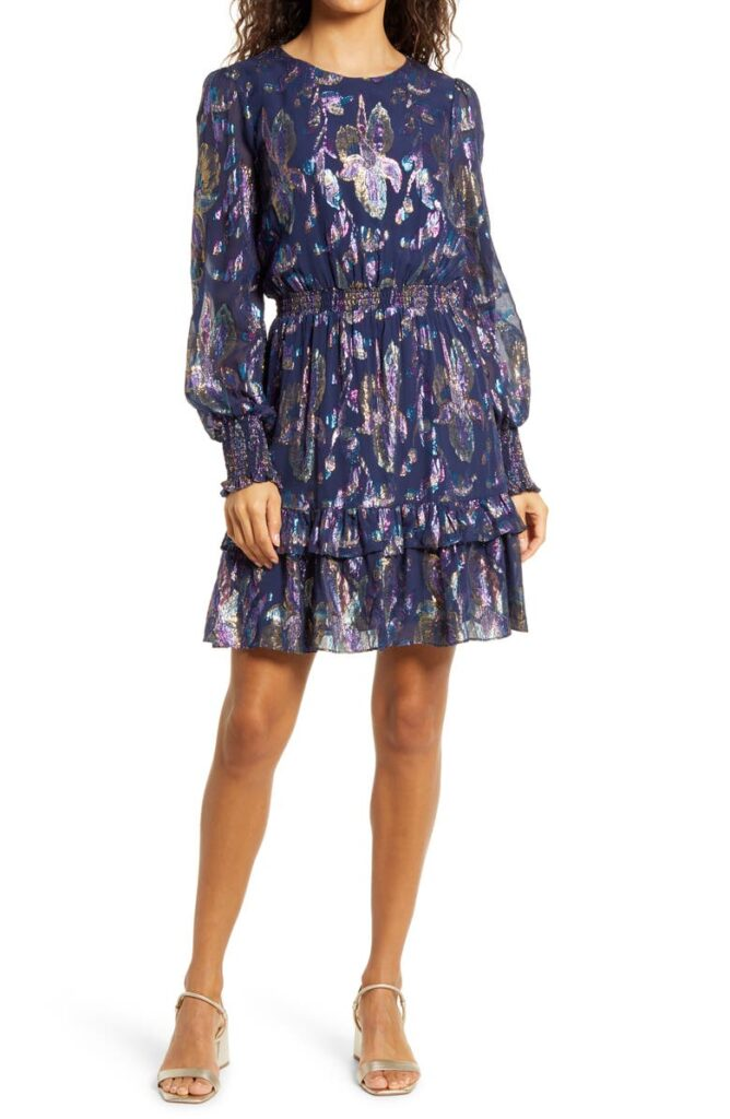 Metallic Floral Long Sleeve Dress