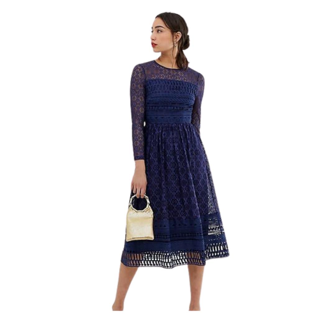 Long Sleeve Lace Midi Dress