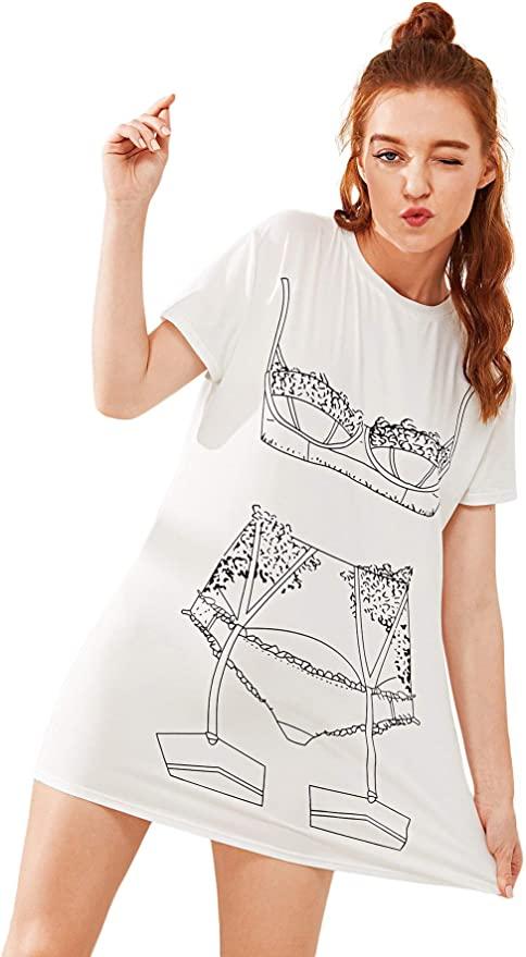 Floerns Women's Funny Lingerie Nightgown Cute Print Tshirt Sleepdress