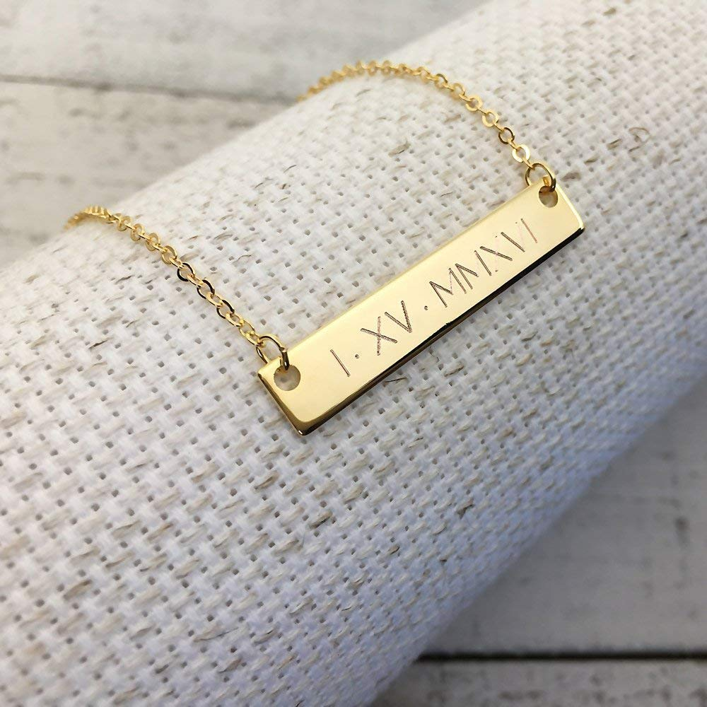 Roman Numeral Wedding Date Necklace