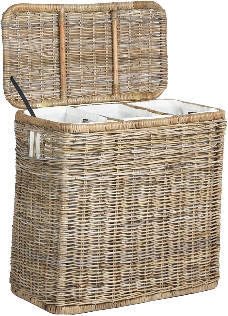 The Basket Lady 3-Compartment Wicker Laundry Sorter Hamper
