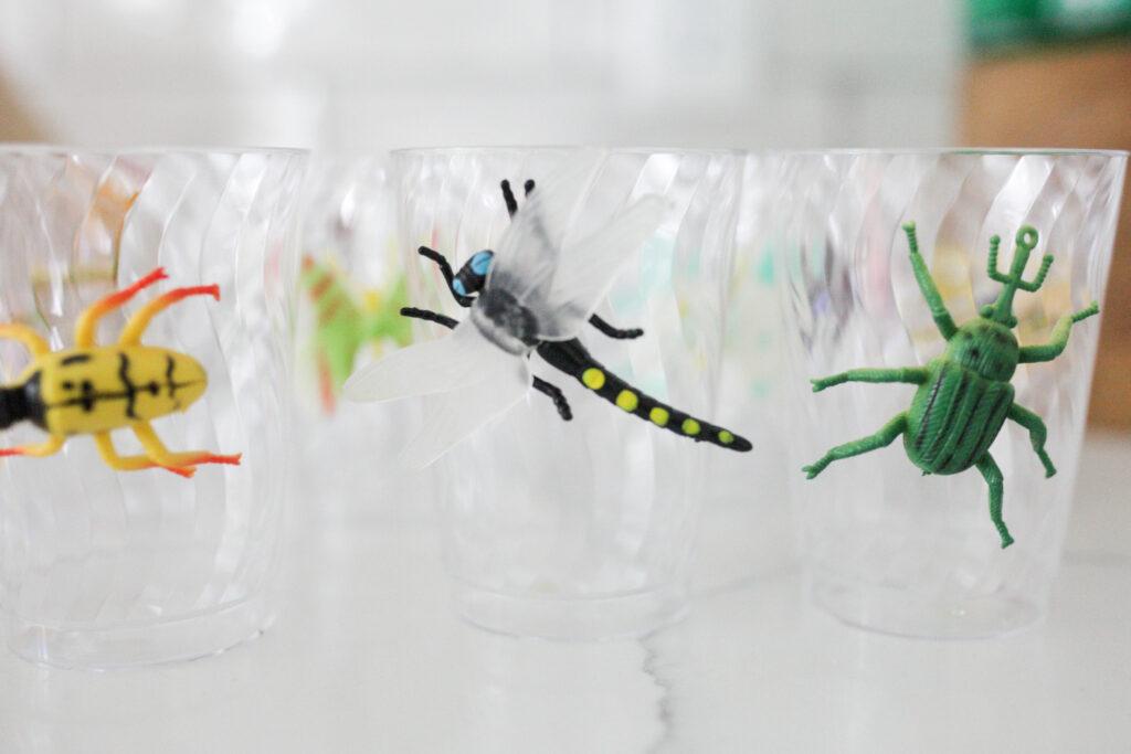 fake bugs clued onto glasses