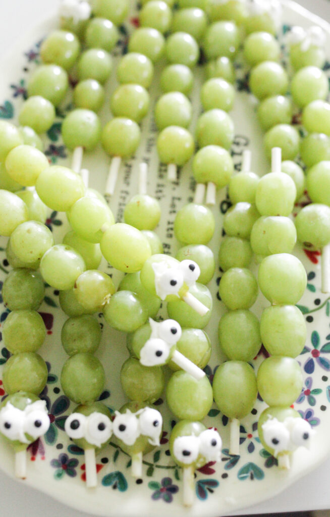 green grapes on a skewer