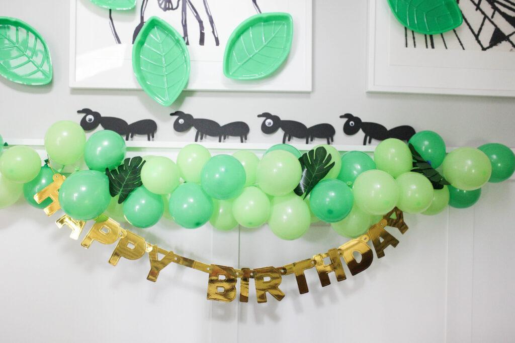 diy ants and a balloon garland