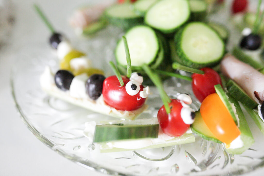 bugs made out of veggies