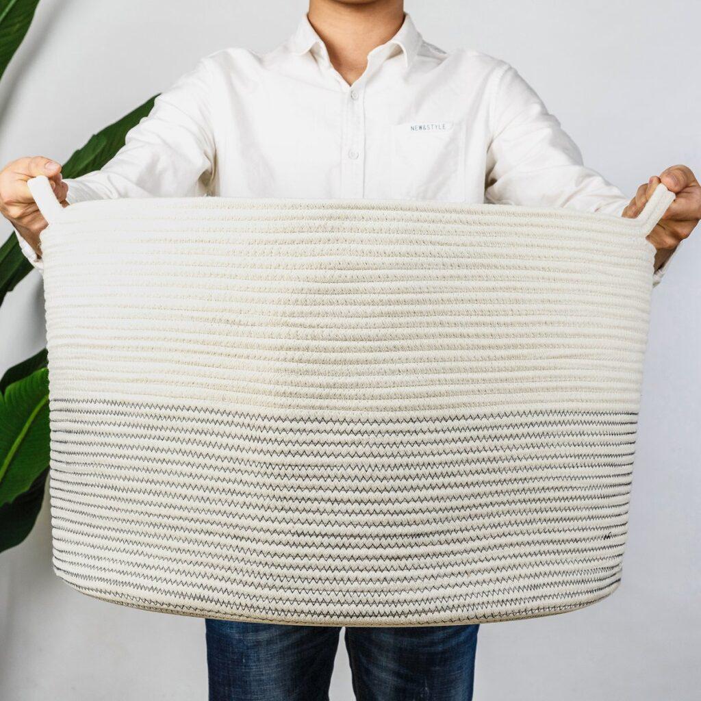 INDRESSME XXXLarge Cotton Rope Basket