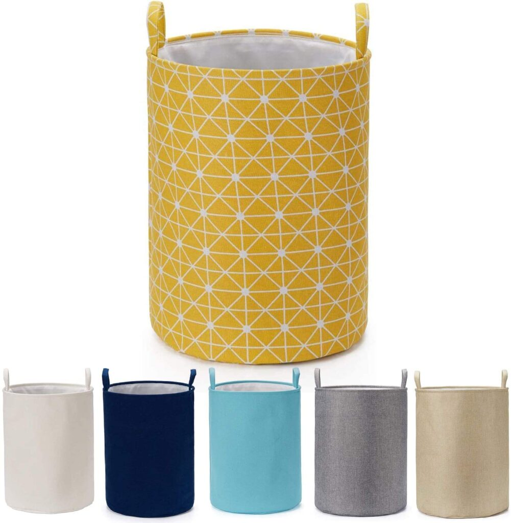 Every Deco Round Cylinder Wire Metal Frame Dual Fabric Laundry Basket