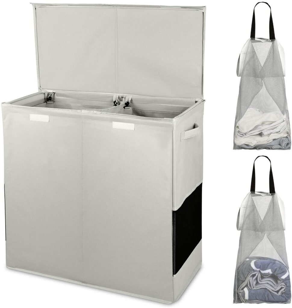 HOUSE AGAIN Sturdy Double Laundry Hamper with Lid and Removable Laundry Bags
