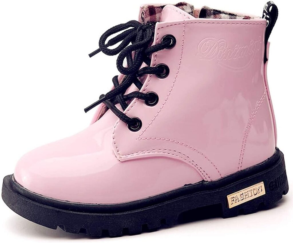 DADAWEN Boys Girls Waterproof Outdoor Ankle Boots Side Zipper Lace-Up Combat Boots for Kids (Toddler/Little Kid/Big Kid)