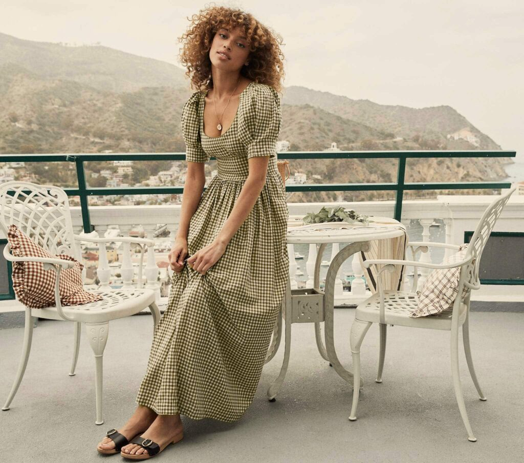 Kennedy dress in olive gingham from Doen